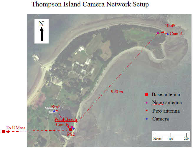 Thompson Island erosion monitoring cameras wireless network